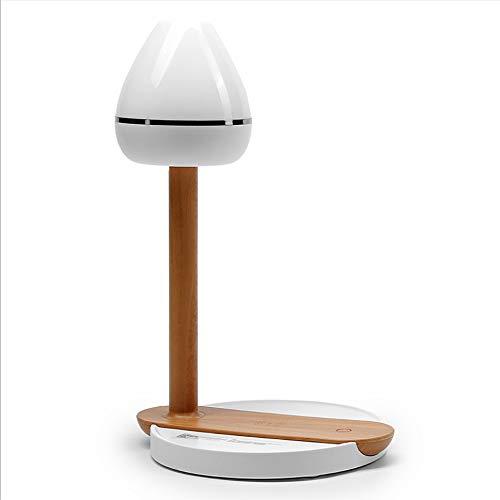 ZFZSZ Wireless Charging Table Lamp, LED Augenschutz Schreibtisch Lampe, 3 Helligkeitsstufen, Dimmbar, Holz, Zum Lesen Geeignet, Nachttisch, Schlafzimmer, Nachtlicht