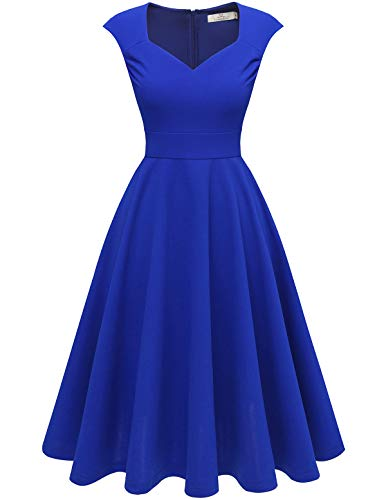 HomRain Damen 50er Retro Vintage Kleid V-Ausschnitt Kurzarm Rockabilly Cocktail Party Brautjungfernkleider Abendkleider Royalblue XS