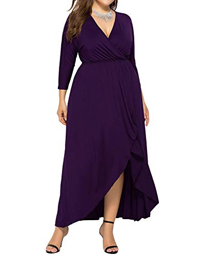 AUDATE Damen 3/4 Fledermaus Ärmel Unregelmäßiges V-Ausschnitt Lange Swing Kleid Hüftkleid Lila DE 46