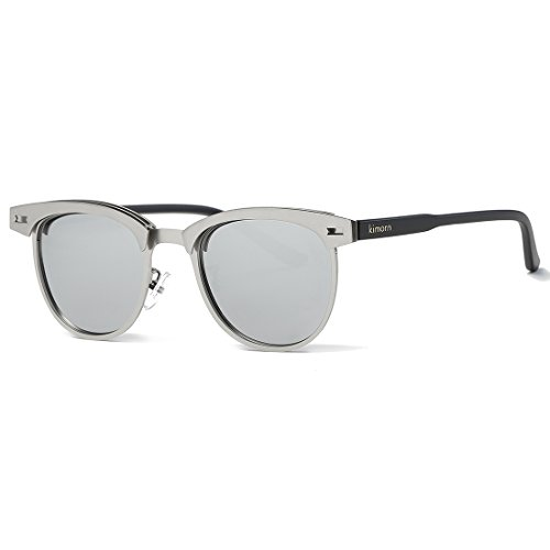 kimorn Polarisierte Sonnenbrille Unisex Retro Halb-Randlos Metall Rahmen Gläser K0558 (Silber)