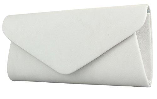 Envelope Clutch Damen Handtasche Abendtasche in schwarz weiß rot uvm Grau