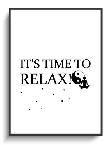 Kunstdruck DIN A4 Modern Time to Relax ohne Rahmen Design Yin Yang Budha Minimalismus Schwarz Weiß Gastgeschenk Geburtstag Einzug Wohnung Freundin