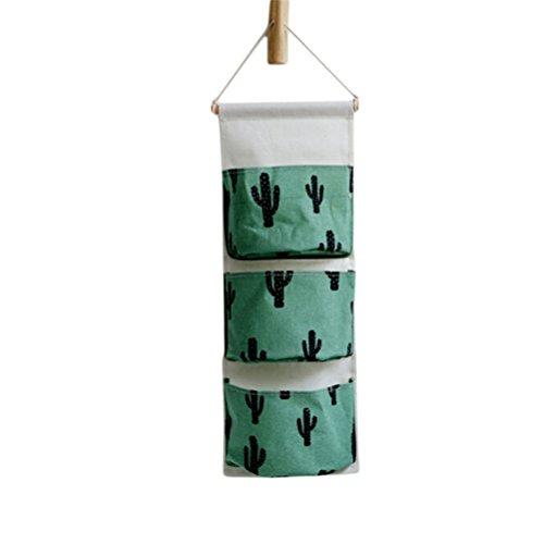 Flybloom Aufbewahrungstasche Karikatur Tier Kaktus Ananas Muster Hängenden Tasche Wand Tür Hänge Organizer mit 3 Taschen für Kinderzimmer, Schlafzimmer, Bad, Stil 7