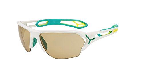Cébé S'Track Herren-Sonnenbrille Large bunt - Matte White Turquoise Vario Perfo + 1000 Clear