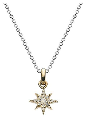 Dew Sterling Silver with 14ct Gold Plate and Milky Opal Star Necklace of Length 45.7cm