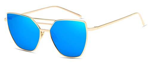 AGGIEYOU Frauen Sonnenbrille Männer Beschichtung Vintage Spiegel Platz Flachbildschirm Objektiv Sonnenbrille, Blau