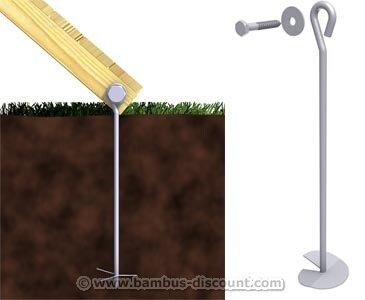 bambus-discount.com Bodenanker eindrehbar für Winnetoo Befestigung, 50cm - Kinderspielgeräte für Garten, Spielgeräte für Kinder, Spielturm, Spieltürme
