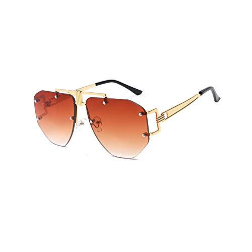 Vikimen Sportbrillen, Angeln Golfbrille,Oversized Frameless Sunglasses Ladies Women Luxury Metal Punk Sun Glasses Men Brand Design UV400 Goggles Oculos Q67 Gold-Brown