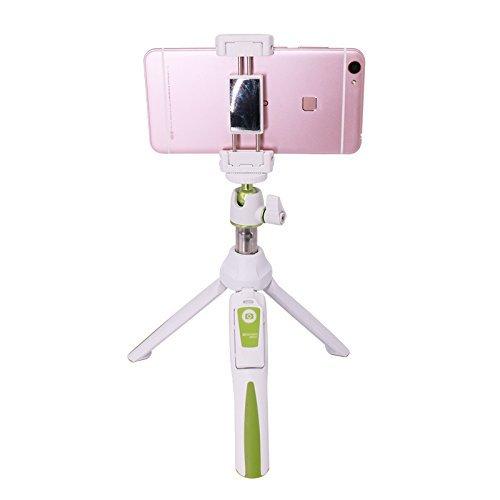 Palmare Treppiede 3 in 1 monopiede allungabile del bastone per selfie con otturatore integrato Bluetooth Remote(Verde)