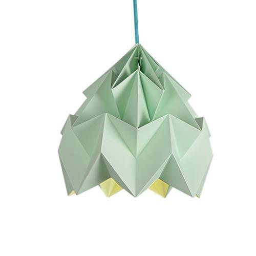 E27 Macaron Pendellampe Grün Origami Handwerk Pendelleuchte Persönlichkeit Kreatives Design Hängelampe Kinderzimmer Wohnraum Schlafzimmerbalkon Speisesaal