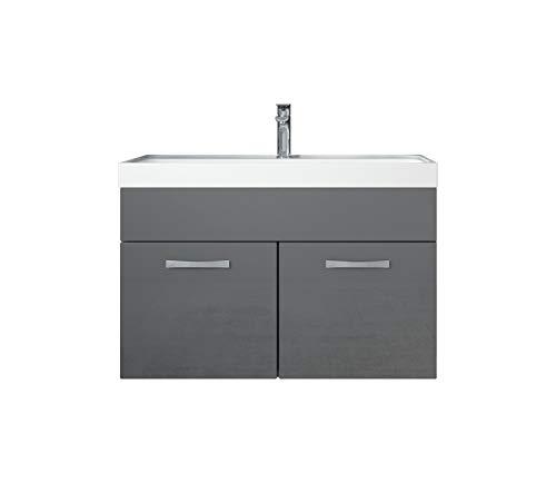 Badezimmer Badmöbel Set Paso 01 80 cm Waschbecken Hochglanz Grau Fronten - Unterschrank Schrank Waschbecken Waschtisch - Unterschrank Set