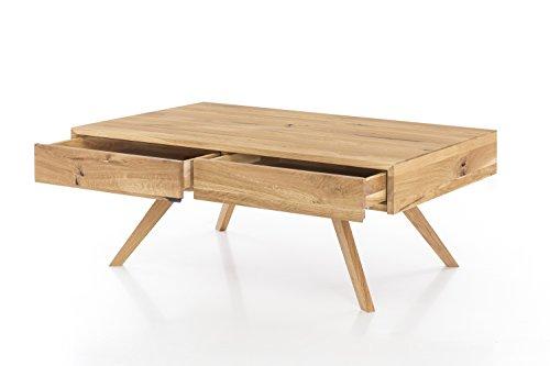 Rechteckige Schublade Beistelltisch (Massivholz Couchtisch rechteckig aus Wildeiche, Wohnzimmer-Beistelltisch, massiver Holztisch inkl. 2 Schubladen, Tisch 110 x 70 cm)