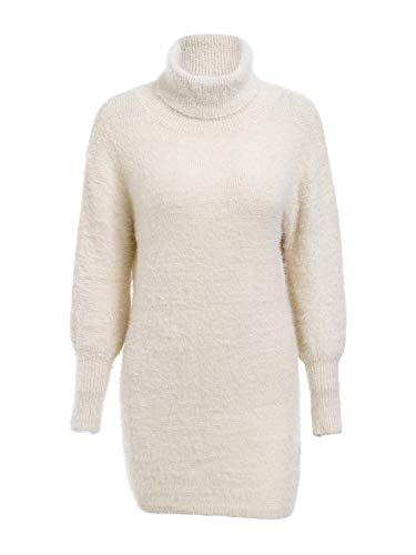 Melegant Damen Herbst Kleid Elegant Kurz Rollkragen Puffärmel Eng Pullover Winter Strickkleid Beige
