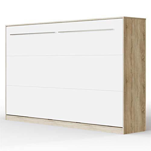 SMARTBett Standard Letto a Scomparsa Letto Ribaltabile Letto a Muro (Rovere Sonoma/Bianco Opaco, 120x200 Orizzontale)