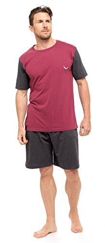 Mens T-Shirt Top & Shorts Pyjama Set Loungewear Cotton S-XL (1 or 3 Pack) (Large, RED INSIGNIA)