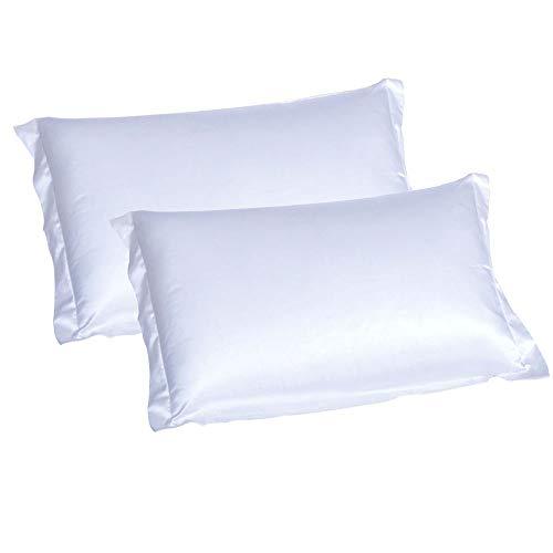 CHRISLZ 2pcs funda de almohada de seda estándar 50 * 75CM sedoso suave y arruga libre puro Color seda...