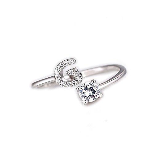 Beloved ❤️ anello da donna con cristalli e solitario con lettera iniziale placcato rodio - misura adattabile - tutte le lettere dell'alfabeto - vestibilità da misura 9 a 20 - argento (g)