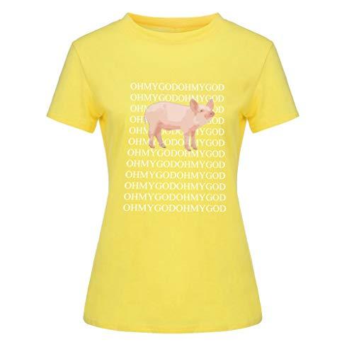 rt atmungsaktiv Shirt atmungsaktiv, Mode WomensO-Neck Kurzarm-Taschensack Plus Size Cotton Tee Casual Top, Gelb, 4XL ()