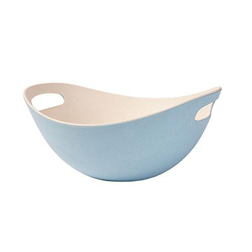 BIOZOYG Vaisselle Bambou Saladier avec poignées I Bol muesli, saladier, Bol à Fruits réutilisable, écologique, sans BPA I Bol Bambou Ovale 25,5 cm Bleu Blanc