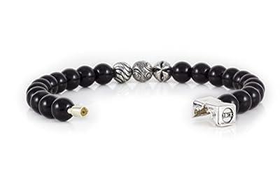 Rock Design Bracelet homme et femme Onyx (lumineux) - Pierre et argent 925 avec crochet