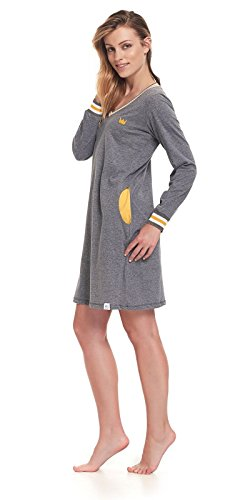 dn-nightwear Damen Nachthemd LAURA / langarm Grau / Gelb