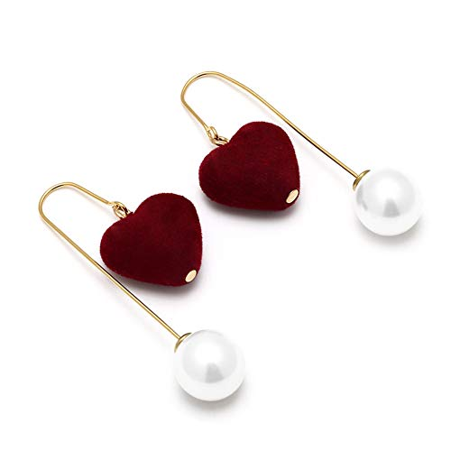 Kostüm Mädchen Perlenohrring - TUANTALL Ohrringe Frauen Perlenohrringe Urlaub Nützliche Lange Sichere Süße Bankette Party Den Abschluss Hypoallergene Romantische Coole Ohrringe red