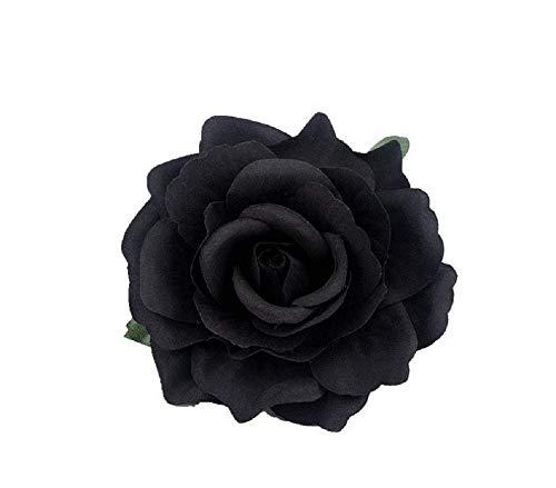 JBR 2X Haarklammer Blume Schwarz Haarrose Ansteckrose Ø 10 cm Haarblume mit Schnabelspange