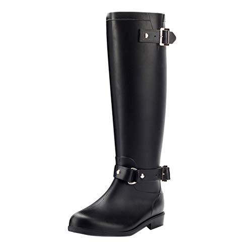 Wellies/Dorical Damen 40 cm Tall Waterproof Lang Rain Regenstiefel Boots Gummistiefel mit Reißverschluss Blockabsatz Wasserdicht Stiefel Klassisch Freizeit Schuhe für Frauen 36-41EU(Schwarz,38 EU)