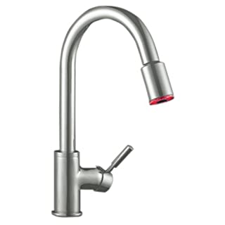 Artisan AF-640-SN Premium Collection Single Handle Kitchen Faucet with Pull Out Spray and LED Lighting Premium Collection, Satin Nickel by Artisan