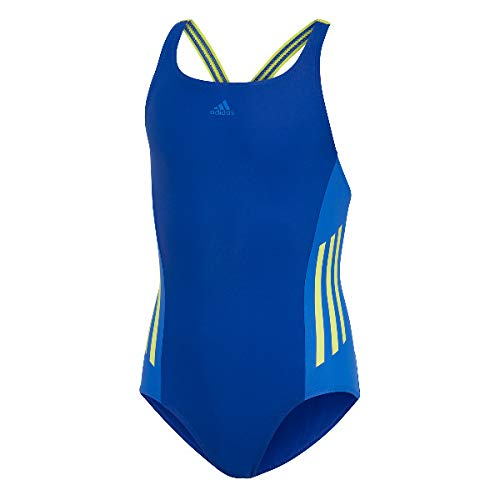 adidas Mädchen Fit 1 Piece Colorblock Badeanzug, Collegiate Royal/Semi Solar Yellow, 164