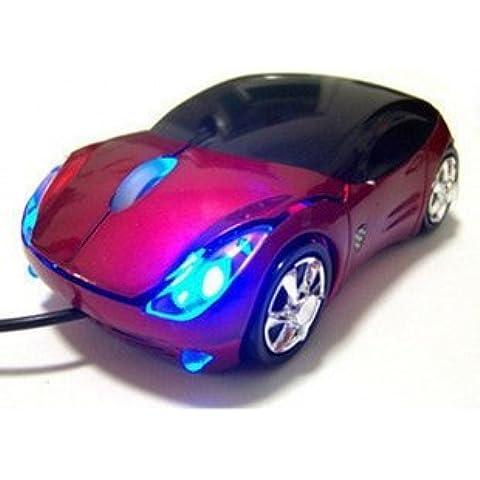 MOGOI(TM)Ratón óptico con Cable USB en Forma del Coche para Ordenador Portátil (rojo) Con MOGOI enrollador de cable para