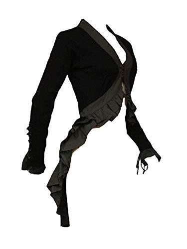 Guiran Mujeres Chaqueta Elegante Abrigo con Volantes Vintage Tailcoat Negro L