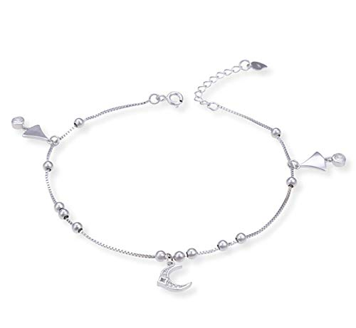 Beglie Damen Fußkette 925 Sterling Silber Stern Mond Knöchel Fußkettchen Silber Geschenk für Damen