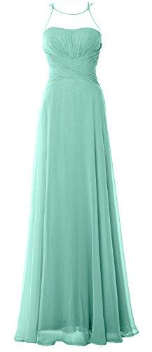 MACloth Women Halter Long Bridesmaid Dress Chiffom Simple Prom Party Formal Gown Aqua