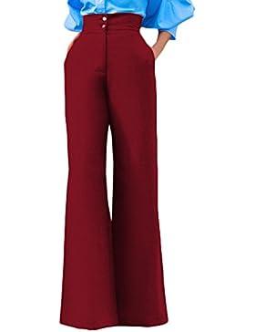 Nuevo Mujeres Pantalones Anchos Moda Cintura Alta Pantalón con Botón Casual Baggy Largo Pants de Playa