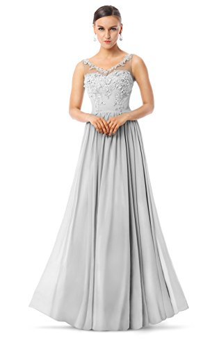 Charmian Women's Courtlike A-line V-Neck Appliques Chiffon Long Prom Homecoming Dance Formal Evening Dresses 2016 Grey US-16 Formal Dress