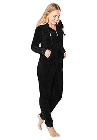 EIGHT2NINE Damen Jumpsuit aus kuscheligem Teddy Fleece | Overall | Ganzkörperanzug mit Ohren black1 S/M