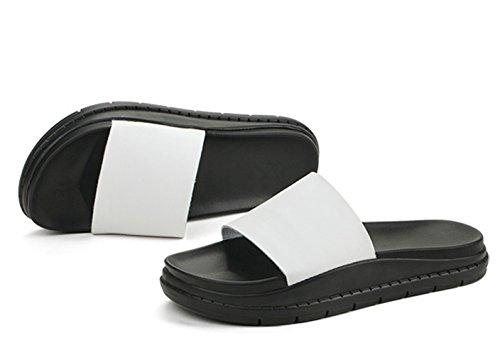 Frühling und Sommer Damen Blumenhohl Runde Zehen Slip On Plateau Aufzug Keilabsatz Modische Lässige Halbschuhe Sneakers Weiß