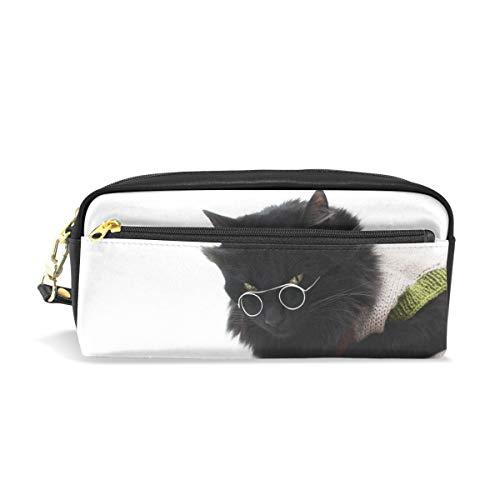 Federmäppchen mit Reißverschluss, große Make-up-Tasche, schwarze Katze mit Brille, auf Büchern liegend, Federmäppchen für Jungen und Mädchen, Schulbedarf