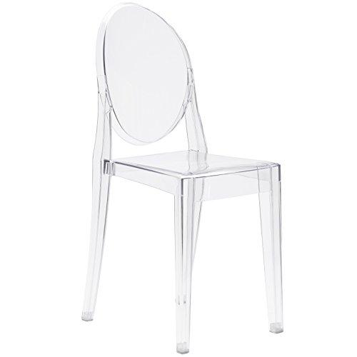 Poly und Rinde Ghost Stil Dining Seite Stuhl, transparent