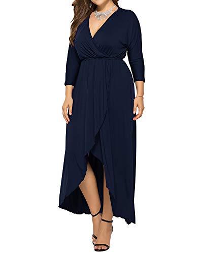 AUDATE Damen Lang Kleid Maxikleid V-Ausschnitt Lose Kleid Lange Kleider Übergröße Dunkelblau XL
