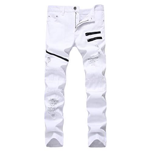 Xmiral Jeans Slim Fit Stretch Nero strappato strappato Skinny Denim Elasticizzato strappato Skinny Biker Pantaloni Jeans con Zip (28,16- Bianca)