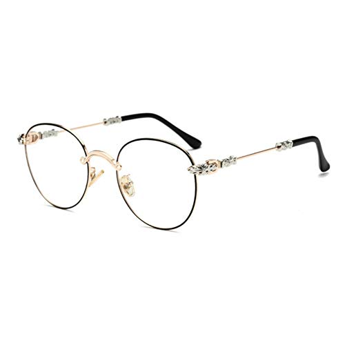 NECCT Gothic Vintage Double Colors Metall Brillengestell Herren Retro Gradient Runde Sonnenbrille,Golden Black Rim