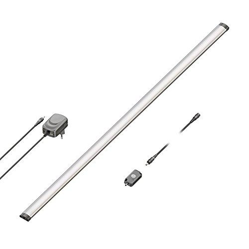 ledscom.de LED Unterbau-Leuchte Sabik mit Netzteil, Bewegungsmelder, flach, matt, 90cm, 950lm, warm-weiß