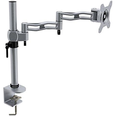 Duronic DM351X3 SR – Soporte de escritorio individual de movimiento completo doble brazo para 1 pantalla plana de 33.02cm – 68.58cm – Color