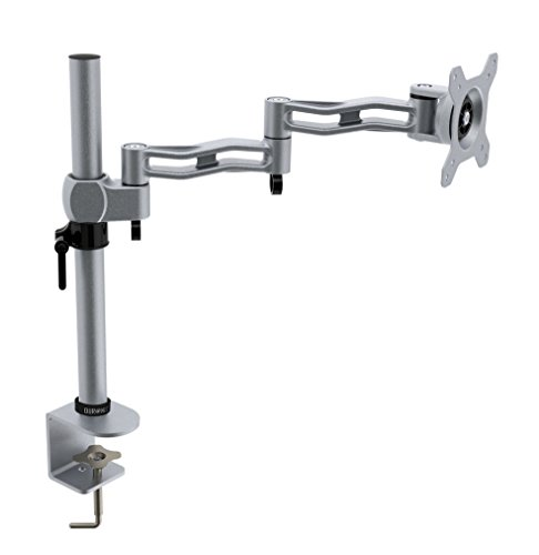 Duronic Silver DM351X3 [SR] Single LCD LED Desk Mount Arm Monitor Stand Bracket with Tilt & Swivel (Tilt ±15°|Swivel 180°|Rotate 360°) + 10 Year Warranty
