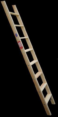 Premium Hochbettleiter Holz 10-stufig als Stufenanlegeleiter formschön für senkrechte Höhe von 2,32 m