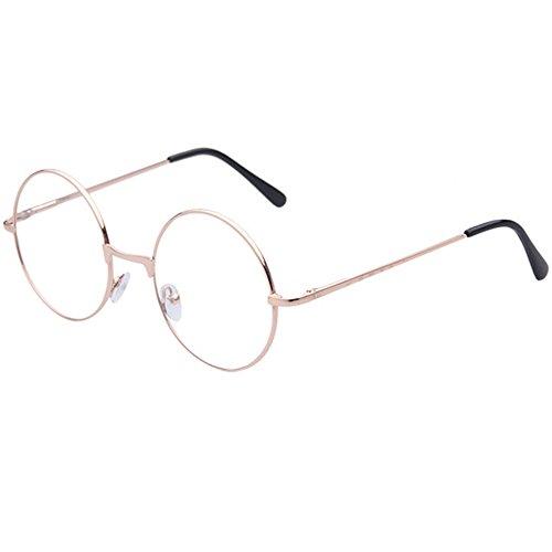 Trixes Runde Unisex Brille Kupfer und schwarz im Retro 60er Vintage Style mit klaren Gläsern Geeky Accessoire für Karneval