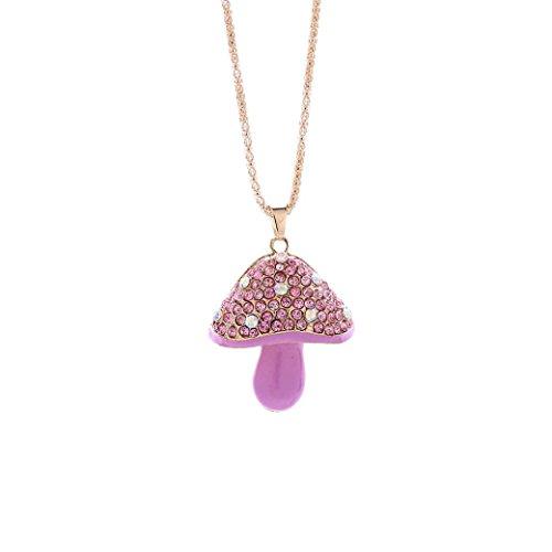 Paolian Créatif !! Collier en Strass cristal Chaîne Champignon Pendentif Dessin animé kawaii Cadeau pour la fille (Rose)