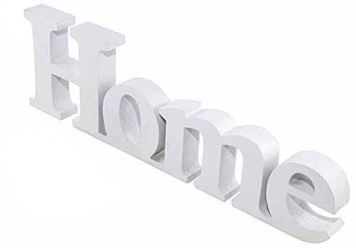 Letras de madera grandes «HOME», color blanco, 30 cm